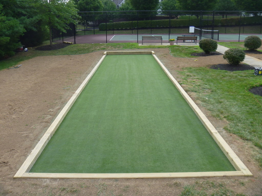 Synthetic turf bocce surface