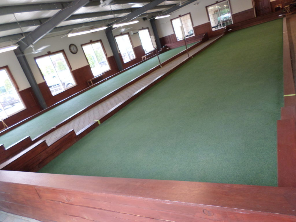 Bocce court with mahogany trim